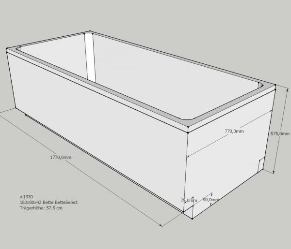Badewanne Höhe.Neuesbad Wannenträger Für Für Bette Select Badewanne 3413 180 X 80 Cm