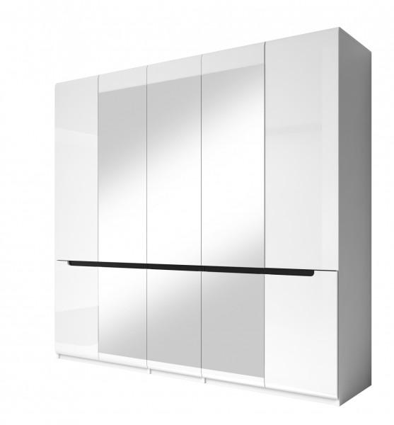 Drehtürenschrank HL1-21, 225 cm x 213 cm x 60 cm, weiss/weisshochglanz/schwarz