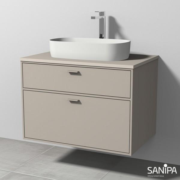 Sanipa Vindo Krita Stone-Set Smilla inkl. Waschtisch und Waschtischunterbau, Kaschmir-Matt