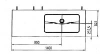 Alape Trägerplatte, Glas weiss poliert, Breite: 140 cm, Tiefe: 525 mm