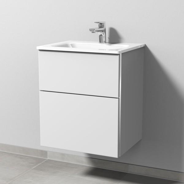 Sanipa 3way Glas-Set inkl. Glas-Waschtisch und Waschtischunterbau mit 2 Auszügen, Weiß-Soft