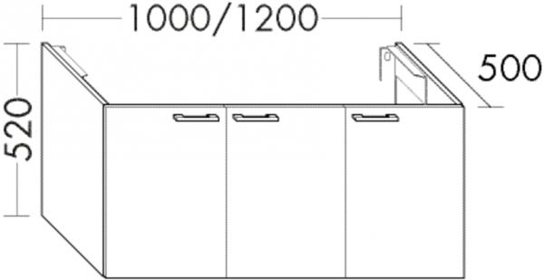 Burgbad Waschtischunterschrank Sys30 PG4 520x1200x500 Anthrazit Hochglanz, WUYS120F3366