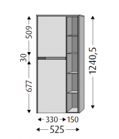 Sanipa Stauraumschrank links mit LED, Twiga Glas SY11414 Pinie-Grau