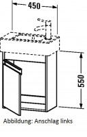 Duravit Waschtischunterschrank wandhängend Ketho T:225, B:450, H:550mm, KT6629R , Front/Korpus: terr