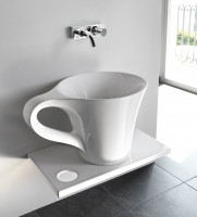 ArtCeram One Shot Cup Aufsatzwaschtich, B: 700, T: 500, H: 425 mm, weiss glänzend