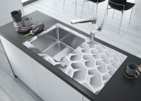 Neuesbad 8mm Glas-Granit-Spüle, 1 Schüssel mit Abtropffläche - Diamantkante